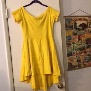 High-low, off the shoulder yellow dress!